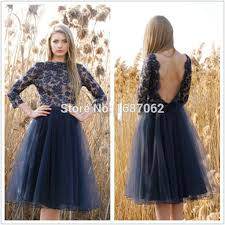custom navy blue tulle cocktail party dresses with 3 4 sleeves
