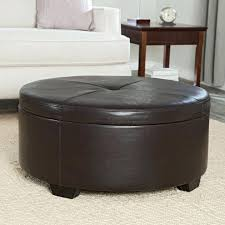 Ottoman With Shelf Surprising Round Leather Cocktail Ottoman Photos Medium Size Of