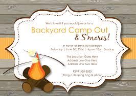 rustic s u0027mores camp out invitations bonfire invitation camping
