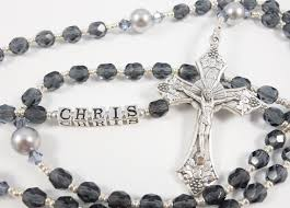 custom rosary personalized blue and silver boy communion or