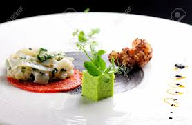 haute cuisine dishes haute cuisine gourmet appetizer squid shrimp tempura and chorizo