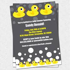 Yellow And Grey Baby Shower Theme Baby Shower Invitations Rubber Duck Ducky Duckie Gender Neutral