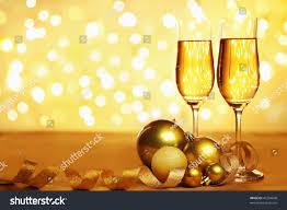 champagne golden christmas ornaments blur light stock photo