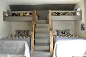 gray loft beds with gray built in staircase cottage boy u0027s room