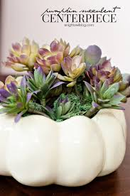 White Ceramic Pumpkin Centerpiece by Thanksgiving Tablescape With Succulent Centerpiece