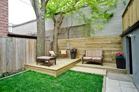 toronto backyard deck ideas contemporary with trees in raised bed