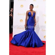 keke palmer royal blue strapless mermaid evening dress 2014 emmy