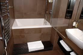 Bath Shower Combination Deep Soaking Tub Shower Combo Simple White Small Bathroom Design