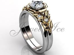 yellow gold wedding band with white gold engagement ring 14k two tone white and yellow gold diamond unique flower