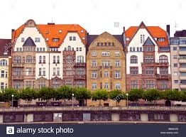 dusseldorf apartment house facades facing rhine river stock photo