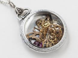 pendant pocket watch necklace images Steampunk necklace antique silver pocket watch movement case with jpg