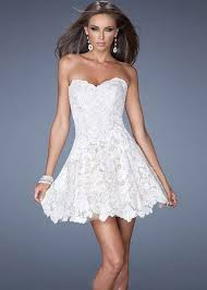 strapless scalloped lace flared short white cocktail dress la