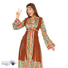 ladies 60s 70s hippie hippy long maxi fancy dress costume