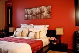 Orange Walls Color Designs For Bedrooms With Romantic Pink Flower In Orange