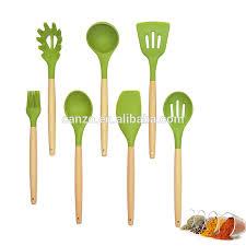 ustensile de cuisine en silicone gros 5 pièces silicone ustensiles de cuisine set avec manche en bois