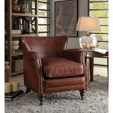 leeds accent chair in vintage dark brown by acme 96679 acme