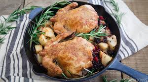 thanksgiving for 2 rice and cranberry stuffed cornish hens