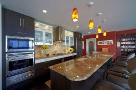 contemporary kitchen with mexican tile backsplash flush in
