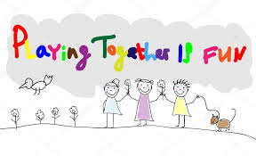 children group of kids playing together is fun hand draw letters