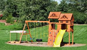 Lawn Swing Back Yard Wooden Swing Set On Green Lawn Stock Photo Picture And