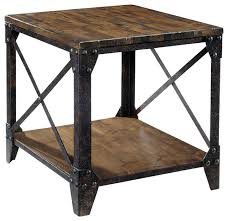 Wood And Metal End Table Magnussen Pinebrook End Table In Distressed Pine Industrial
