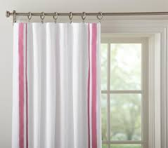 White Curtains With Blue Trim Window Treatments Navy Blue Drapes With White Grosgrain Ribbon Trim