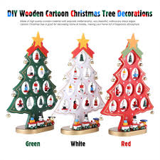 diy wooden cartoon christmas tree ornaments festival party home
