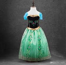 in stock green costume dress for kids frozen girls dress costume