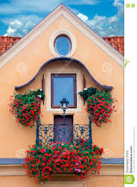 traditional balcony with flowers europe stock photo image 73137859