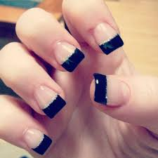 black french tip gel with silver glitter line cuteee u003c3