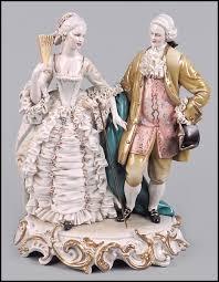 large capodimonte porcelain figural depicting a courtesan
