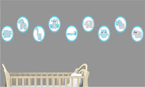 Nursery Stickers Blue Baby Safari Animal Wall Decals Stickers Safari Nursery
