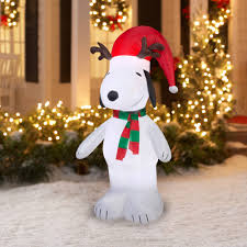 peanuts airblown inflatables 5 airblown snoopy with antlers and santa hat christmas