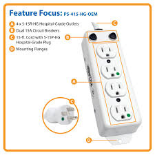 amazon com tripp lite 4 outlet medical grade power strip ul1363a