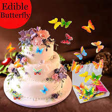 aliexpress com buy 34pcs 3d edible butterfly cake decoration
