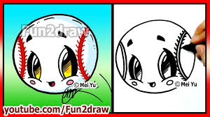 easy things to draw cute baseball softball fun2draw art