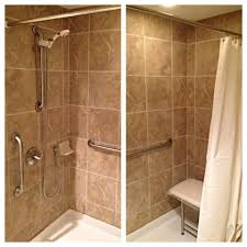 angelic decorating ideas using brown tile backsplash and white angelic decorating ideas using brown tile backsplash and white shower curtains also with cylinder silver handicap rails