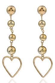 gold drop earrings gold hollow metallic heart pendant beaded stylish drop earrings