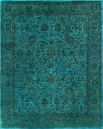 Blue Area Rugs 8 X 10 Rugsville Turquoise Wool Overdyed 12250 Rug 8x10 Area Rugs Within