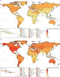 American Samoa Map Trends In Body Mass Index In 200 Countries From 1975 To 2014