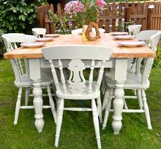 6 Ft Table Dimensions by Large 6ft Pine Farmhouse Dining Table And 8 Chairs Farrow And Ball