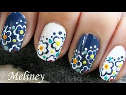 freehand day u0026 night flower nails simple easy spring nail design