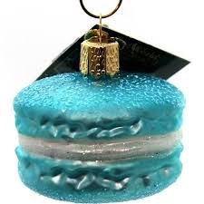 world macaroon glass blown ornament blue