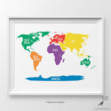 World Map Art Print by Primary Colors Nursery World Map Kids Wall Art Playroom Wall