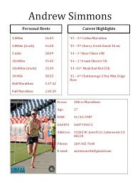 athletic resume andrew simmons athletic resume