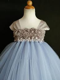 grey blue flower dress lace flowers dress tulle dress wedding