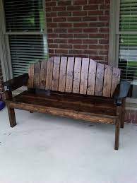 Teak Benches Exterior Rustic Wood Porch Bench With Arm And Back Rest Placed On