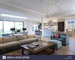 Open Seating Living Room Seating Area With Sofas And Coffee Table In Large Open Plan Room