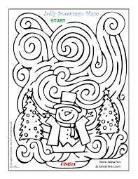 jolly snowman christmas maze and coloring page