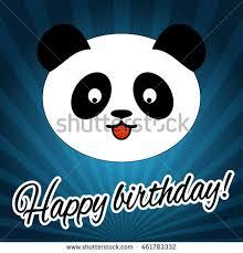 happy birthday card panda card template stock vector 376610509